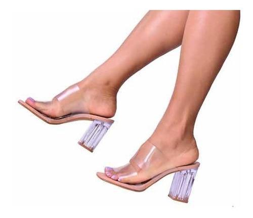 Tamanco Sandália Cristal Transparente Salto Bloco Up Shoes!