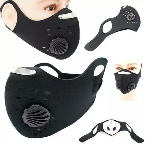 Máscara Para Ciclismo Preta Com Válvula De Respiração Turbo