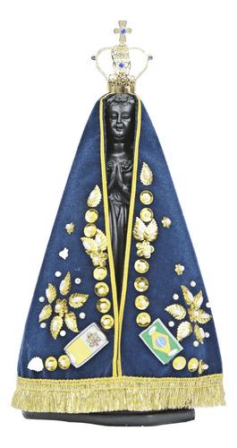 Imagem Nossa Senhora Aparecida Em Resina Com Manto E Coroa.