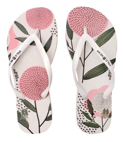 Chinelo Feminino Branco Estampa Flores Polo Wear
