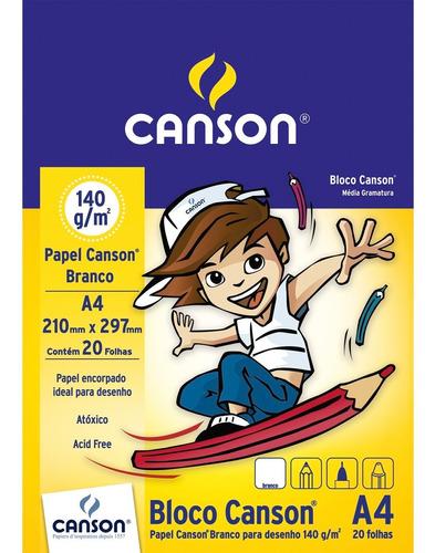 Bloco Papel Canson Desenho Escolar Branco 140g A4 20 Folhas