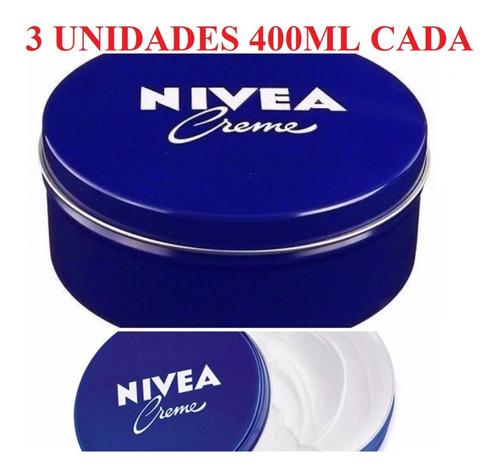 Creme Nívea Hidratante Lata Azul 400ml  3 Unidades Promoção