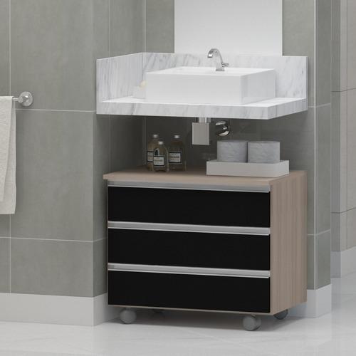 Gabinete Banheiro Rodinhas Joia 60cm 3 Gavetas Pux. Alumínio