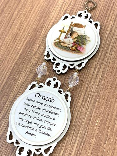 Medalhão De Berço Mandala Anjo Da Guarda Com Oração Lindo