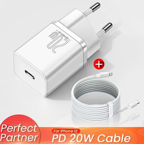 Fonte Carregador iPhone 12 11 Turbo Baseus Tipo C 20w + Cabo