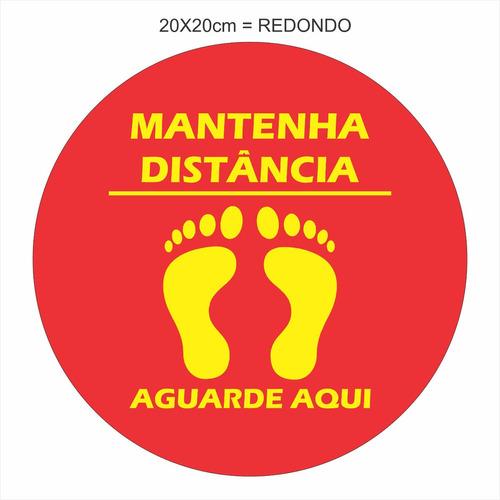 Adesivo Piso Kit 12 Unid 20x20cm Mantenha Distância Redondo