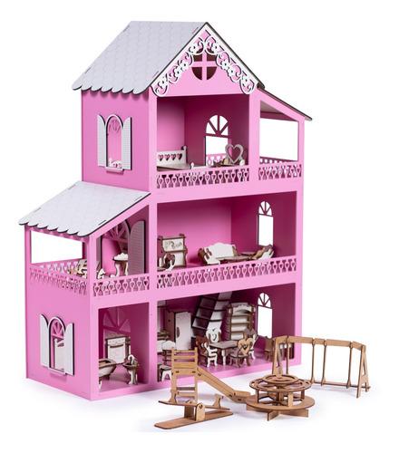 Casinha De Boneca Polly Mdf + 36 Móveis + Nome + Led
