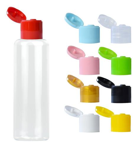 100 Frascos Plástico Pet 60ml Cilíndrico C/ Tampa Flip Top