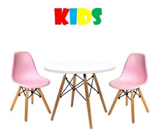 Kit Mesa E 2 Cadeiras Emaes Eiffel Infantil Azul E Rosa