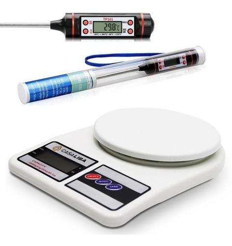 Balança Digital Cozinha Casa Liba + Termômetro Culinário Top