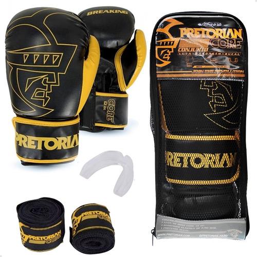 Kit Muay Thai Boxe Pretorian Luva Core Preta +bandagem+bucal