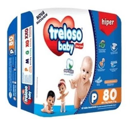 Fralda Treloso Baby Tamanho P - Pacotão Com 80und.