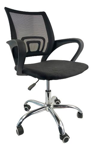 Cadeira Escritório Diretor Encosto Telado Detalhes Cromados