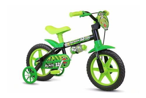 Bicicleta  Masculina Infantil Nathor Black Aro 12 Freios Tambor Cor Preto/verde