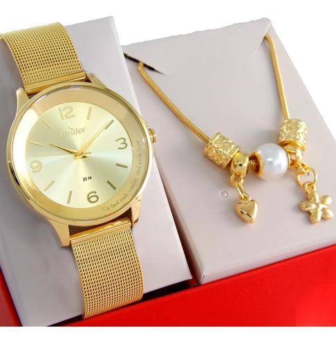 Relógio Condor Feminino Dourado + Kit Co2035kmv/k4f