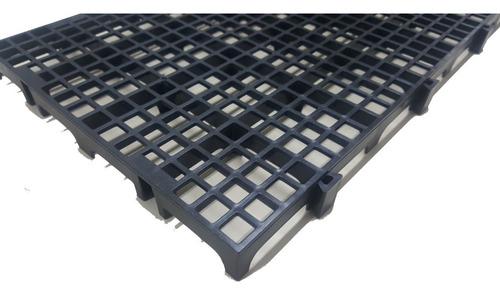 10pc Pallet Estrado Plastico Preto 25x50x2,5cm Piso Plástico