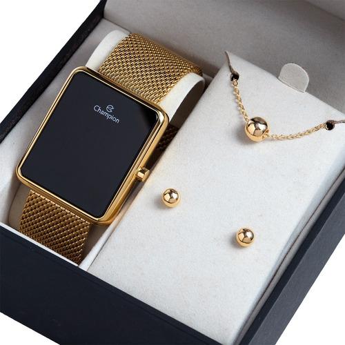 Relógio Champion Feminino Dourado Quadrado