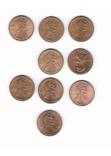Ltc298. 9 Monedas De 1 Centavo. Decada 2000, Ceca D, Ee.uu
