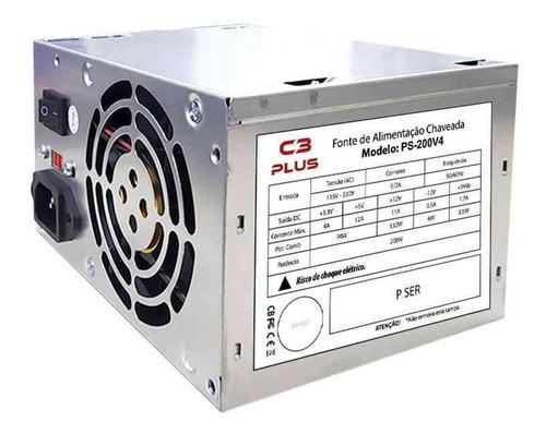 Fonte De Alimentação Para Pc C3tech C3plus Ps-200v4 200w 115v/230v