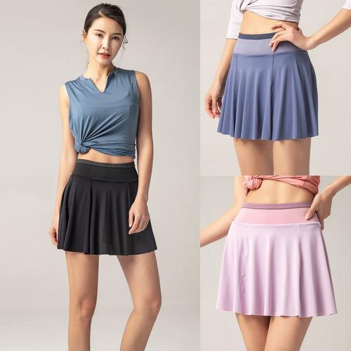 Mulheres 2 em 1 Sport Skirt Shorts Forro Pocekt Secagem Rápi