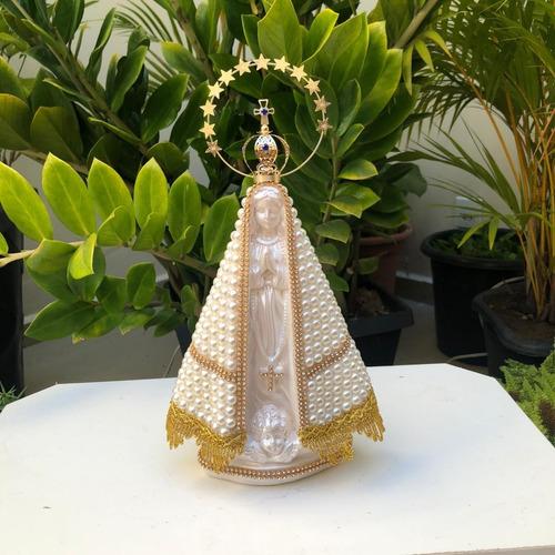 Nossa Senhora Aparecida Perola 30cm Com A Coroa Resplendor