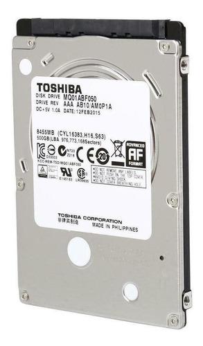 Disco Rígido Interno Toshiba Mq01abf Series Mq01abf050 500gb Prata E Preto