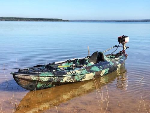 Caiaque K1 Pro Camuflado Pesca Aberto Fibra 1 Lugar  + Remo