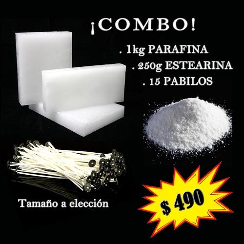 Kit Para Hacer Velas 1kg Parafina 250g Estearina 15 Pabilos