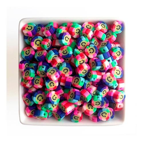 Miçanga Infantil Flor Smile P/ Pulseiras E Colares, 50 Pçs