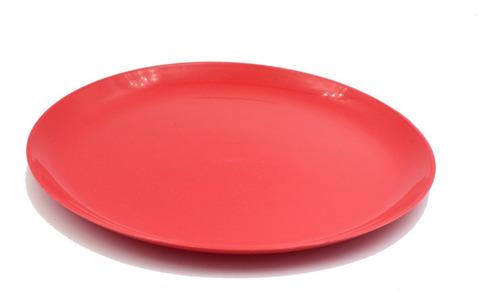 Plato Taquero Liso De Plastico Paquete Con 10 Piezas Rojo