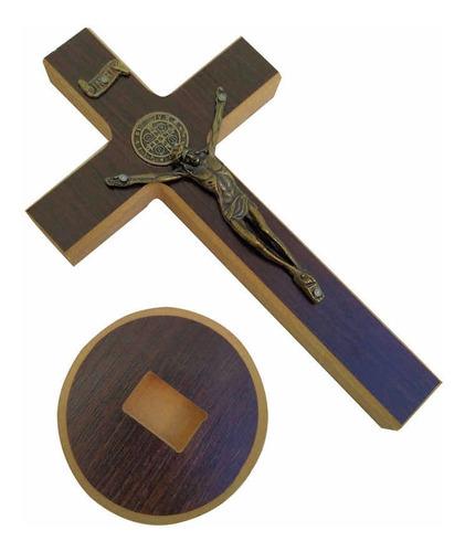 Crucifixo Madeira Mesa 20cm São Bento Medalha Cruz Sagrada