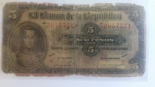 5 Pesos Colombia 1923