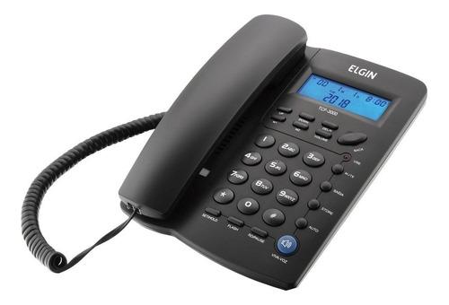 Telefone C/ Fio Elgin Tcf3000 Identificador Viva Voz Relógio