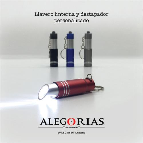 X50 Llaveros Linterna Destapador Empresarial C/ Logo Impreso