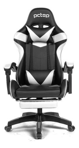 Cadeira Gamer Pctop Racer 1006 Reclinável Preta E Branca