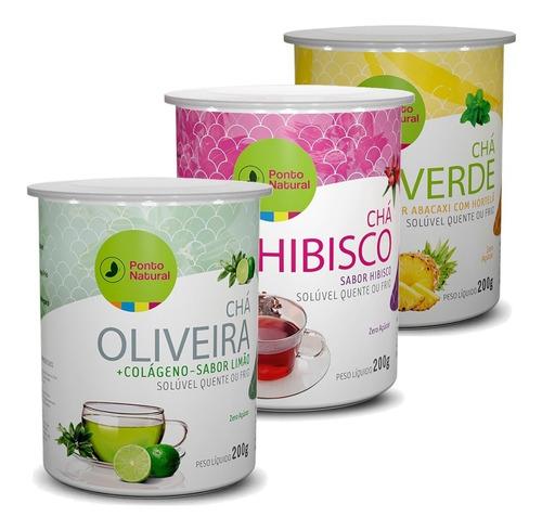 Kit Chás Solúveis - Hibisco, Chá Verde E Chá De Oliveira