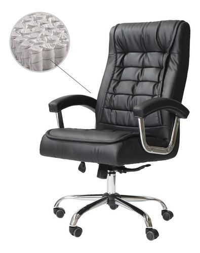 Cadeira Escritório Big Presidente Preta Molas Ensacadas