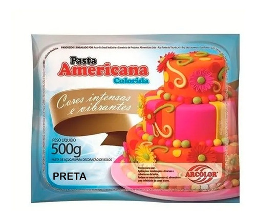 Pasta Americana 500g Colorida - Arcolor - Escolha A Cor