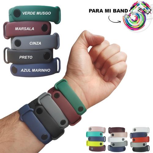 Kit Com 5 Pulseiras Para Mi Band 5 E Amazfit Band 5 Silicone