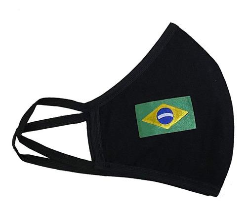 Mascara De Proteção Preta Bandeira Brasil - Envio Rápido!