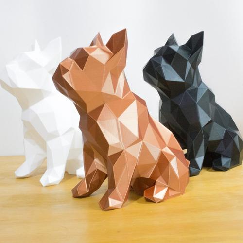 Escultura Bulldog Geométrico Cachorro Decoração 40cm Lindo