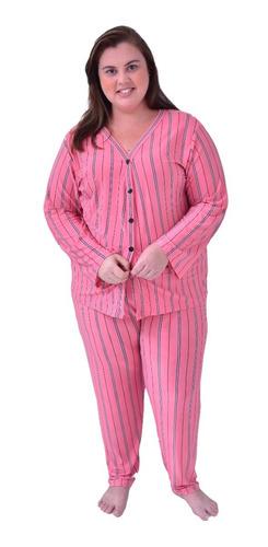 Pijama Plus Size Longo De Liganete