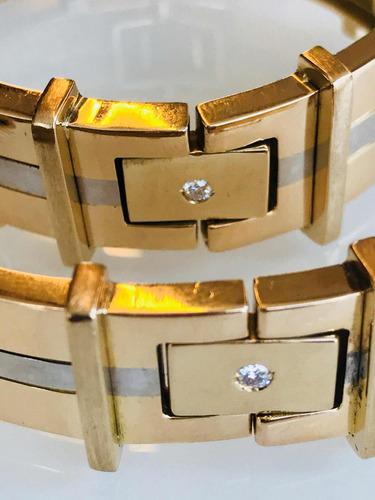Linda Pulseira Em Ouro 18k-69.3gr. 20cm.c/diamantes.