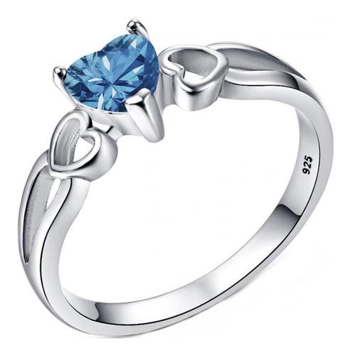 Anel Pura Prata 925 Eterno Coração Azul Topázio - Exclusivo