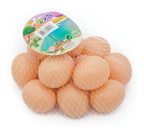 Kit 12 Ovos Artificiais De Plástico Serve Para Indez Galinha
