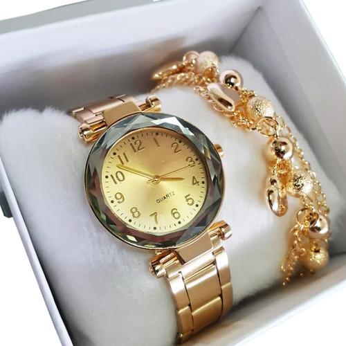 Relógio Feminino Dourado Pulseira Presente Dia Dos Namorados