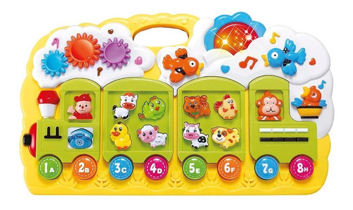 Brinquedo Teclado Educativo Trenzinho Som 34cm Dm Toys 4744