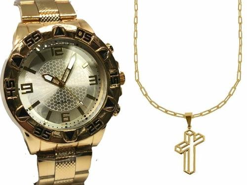 Relógio Masculino Banhado Barato Original + Corrente E Ping