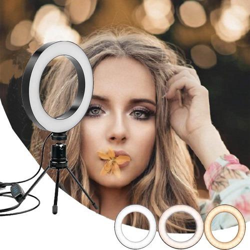 Anel De Luz De Led 16cm Usb Com Tripé Maquiagem Foto Vídeo