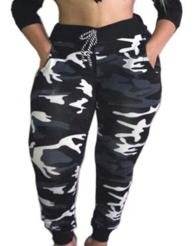 Calça Feminina Camuflada Cintura Alta Exército Jogger